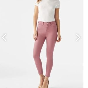 High Waisted Ankle Grazer Jeans in Mesa Rose